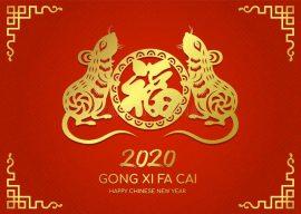 与金纸的愉快的春节-卡片削减了双鼠十二生肖-131396415